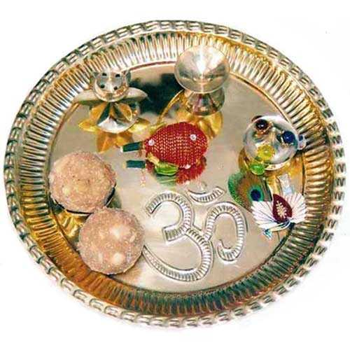 Brass Puja Thali With Gond Laddoos - Canada Delivery Only