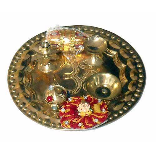 Designer Brass Puja Thali
