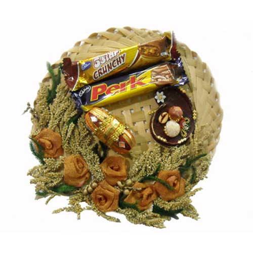 Bhai Dooj Cane Thali & Chocolates