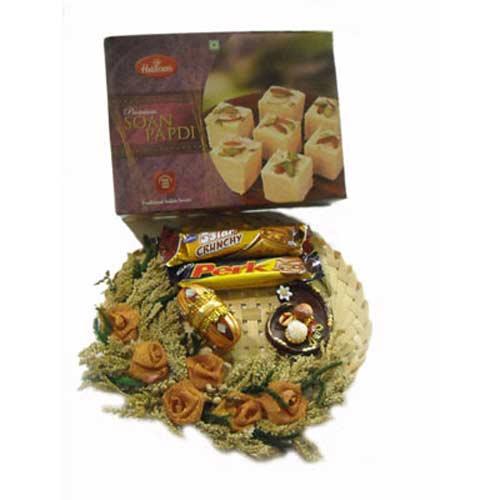 Diwali Cane Puja Thali & Soan Papdi