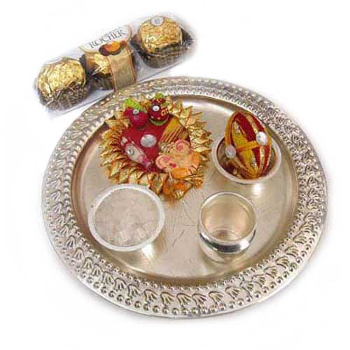 Rakhi German Silver Puja Thali with Ferrero Rocher