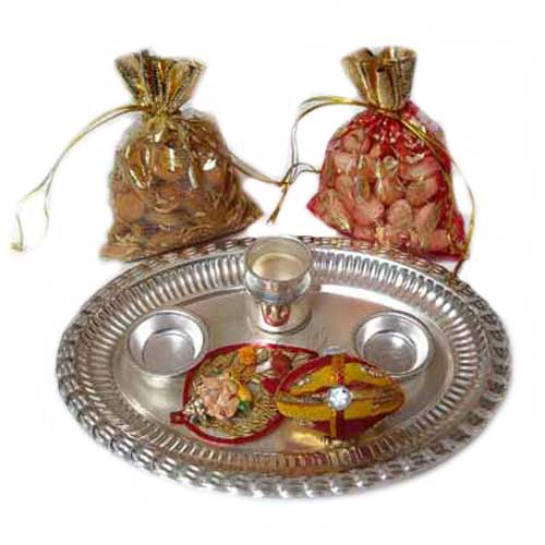German Silver Pooja Thali with Dry Fruits