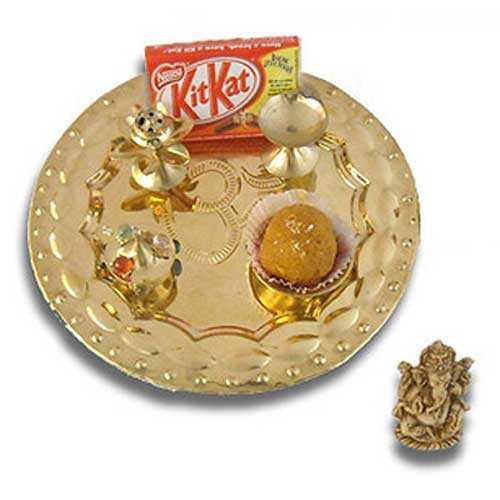 OM Brass Puja Thali & Ganashji 26