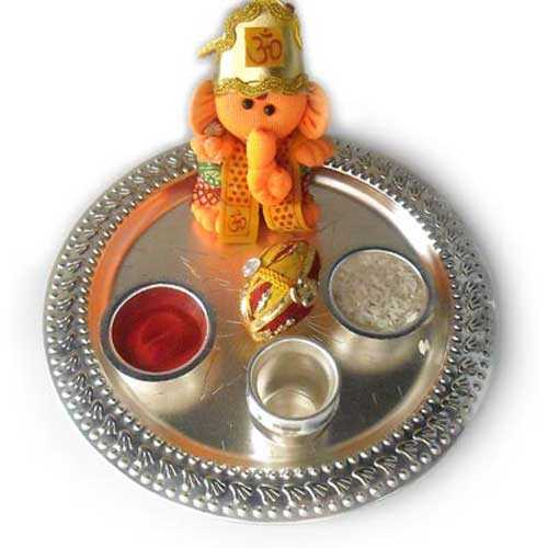 Bhai Dooj German Silver Puja Thali and Ganesh