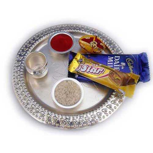 Bhai Dooj German Silver Puja Thali with Chocolates