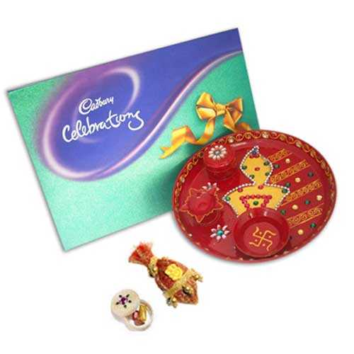 Diya Pooja Thali & Chocolates -10789 - Australia Delivery