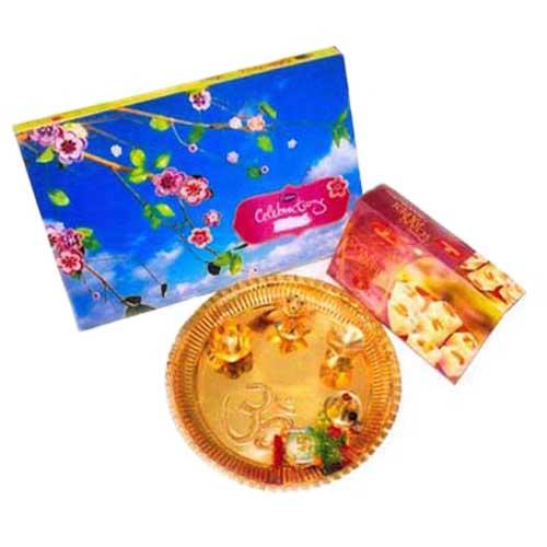 Brass Pooja Thali With Soanpapdi & Celebrations - USA Delivery