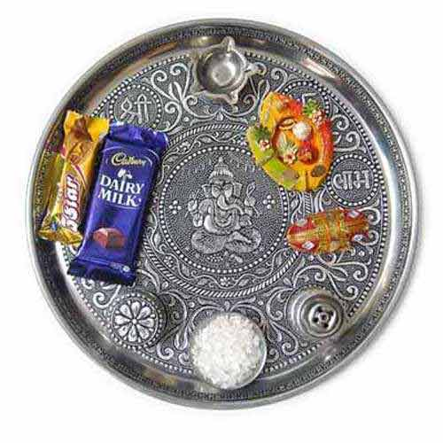 Bhai Dooj White Metal Ganesha Puja Thali