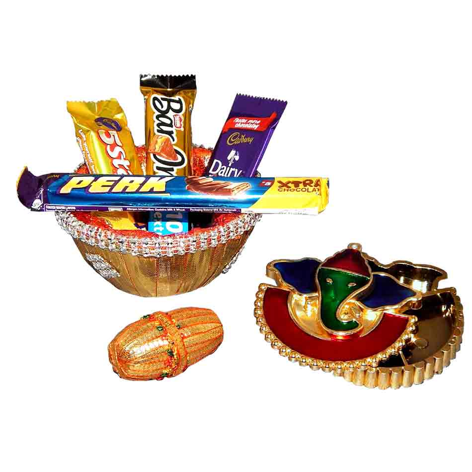 Chocolate Bowl With Ganesh Roli Chawal Pack - Australia Delivery