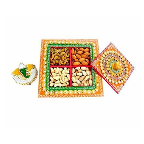 Square Box with Mix dry fruits 400 gm - CANADA Only