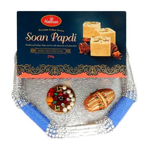 Hand Made Designer Puja thali With Soan Papdi 250 gms. - 3 - USA