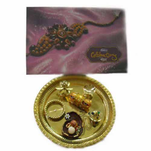 Diwali Brass Puja Thali With Bandhan - UK Delivery