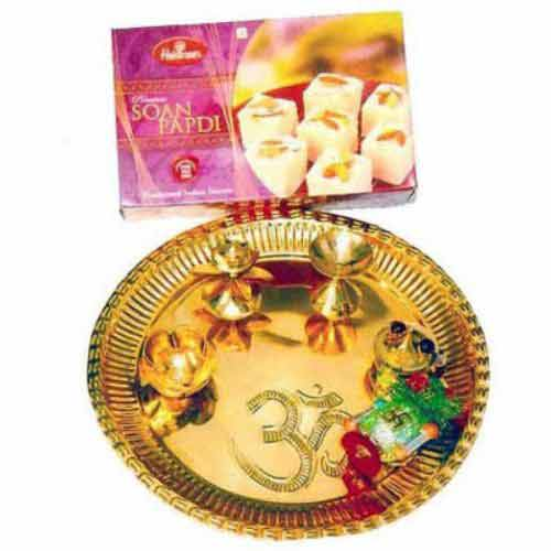 Diwali Brass Puja Thali With Soanpapdi 500 g - UK Delivery