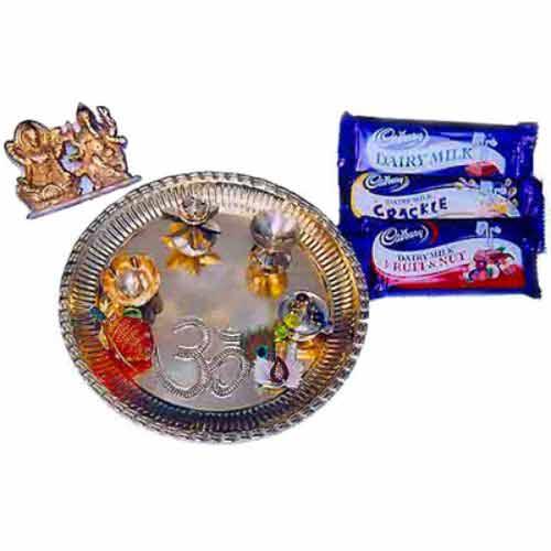 Diwali Brass Puja Thali With Ganesh Laxmi