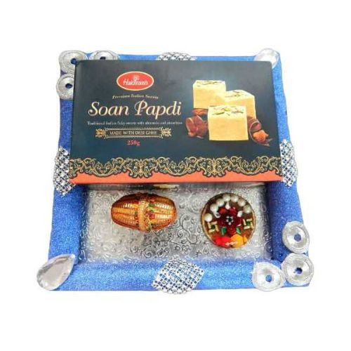 Hand Made Square D. Puja thali With Soan Papdi 250 gms - 2 - UK