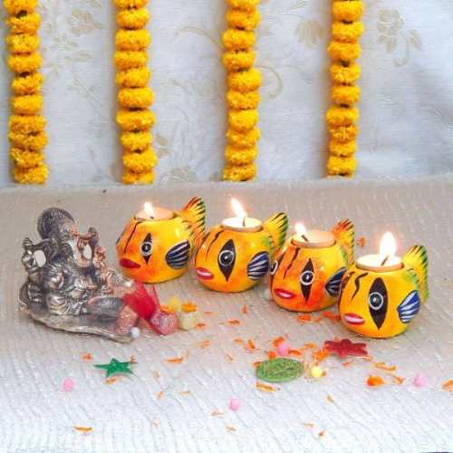Lord Ganesh With Diya