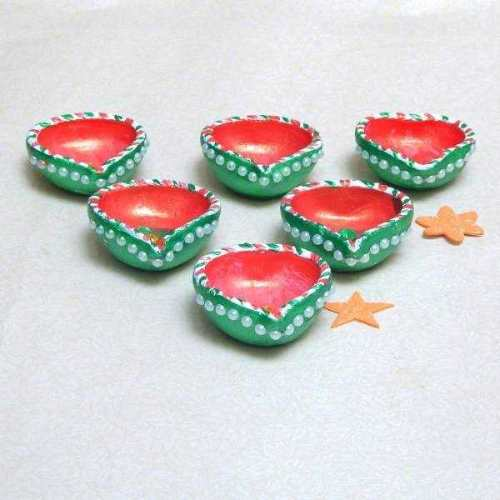 Terracotta Diya Set Green