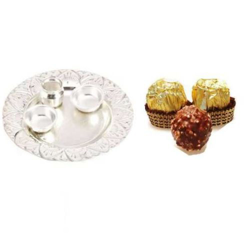 Silver Thali & Ferroro Rochers 5 Pcs - 11058 - UK Delivery