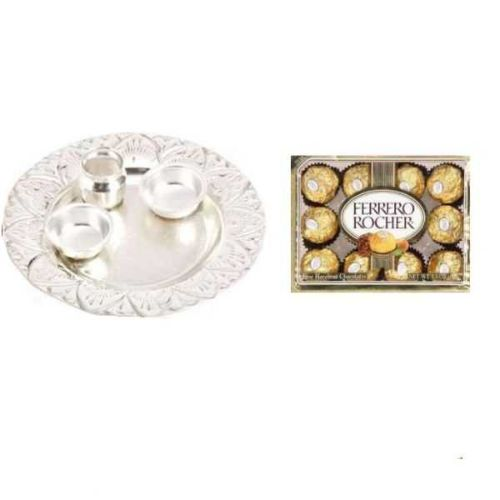 Pristine German Silver Thali with Ferrero Rocher 24 pcs Hazelnut