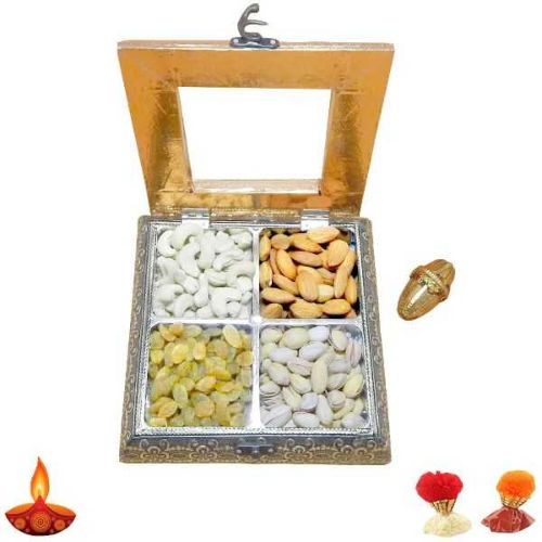 White Metal Dry Fruits Box - UK Delivery Only