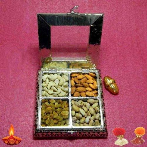Designer Square White Metal Box With Dryfruits - UK Delivery