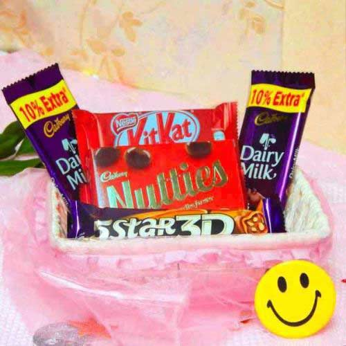 Combo Of 5 Chocolates with Fancy Basket - Australia Delivery
