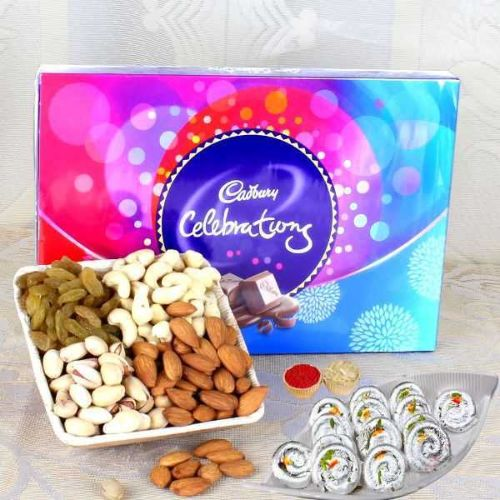 Sweet Dry Fruits Chocolate Hamper - USA Delivery Only