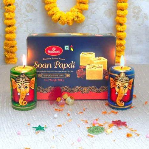 Diwali Sweet & Diya Hamper - USA Delivery Only
