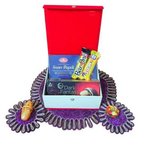 Auspicious Jeweled Chocolate Rakhi Box - USA Delivery Only