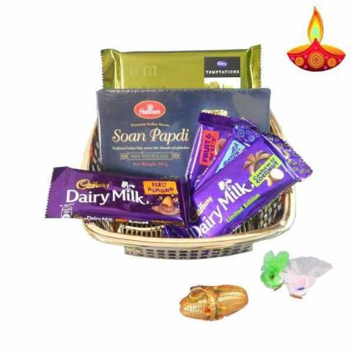Chocolate & Sonpapdi Hamper With Basket - USA Delivery Only