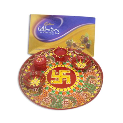 Cone Swastik Pooja Thali 10626 - USA Delivery