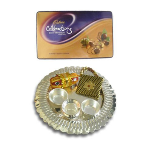 Silver Thali And Rich Dry Fruit Collection 15