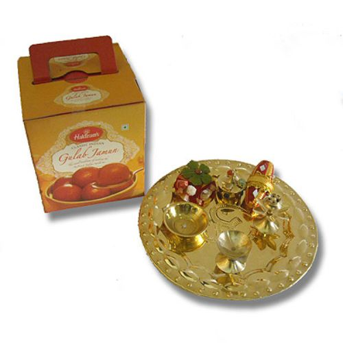 Brass Thali & Gulab jamun 18 ( India Delivery)