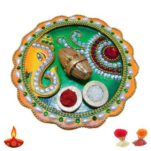 Lord Ganesh Wooden Thali - UK Delivery Only