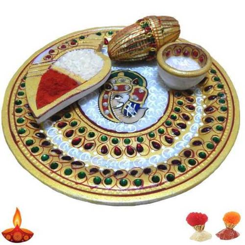 Lord Ganesh Marble Puja Thali - USA Delivery Only