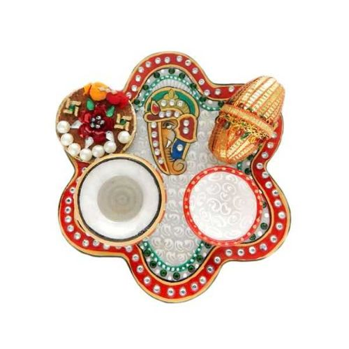 Lord Ganesha Marble Puja Thali - 2 - Singapore Delivery Only