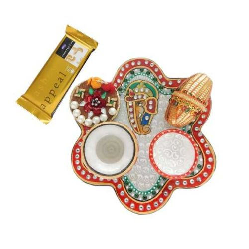 Lord Ganesha Marble Puja Thali - 2 With Temptation Chocolate