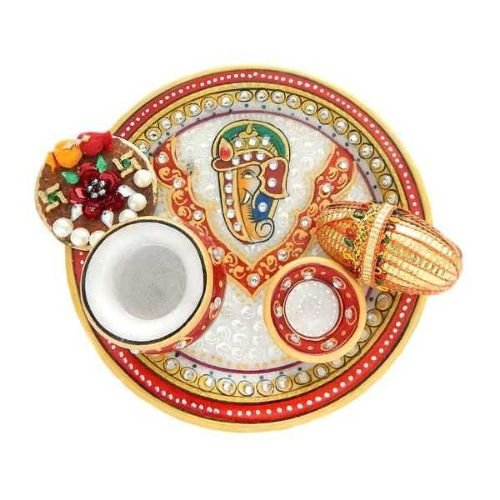 Lord Ganesha Marble Puja Thali - 3 - Singapore Delivery Only