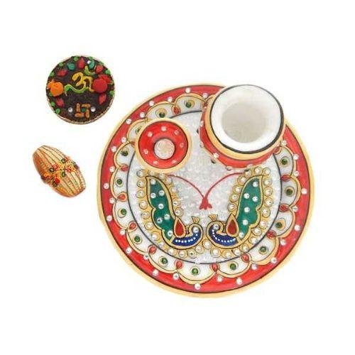 Peacock Designe Marble Puja Thali