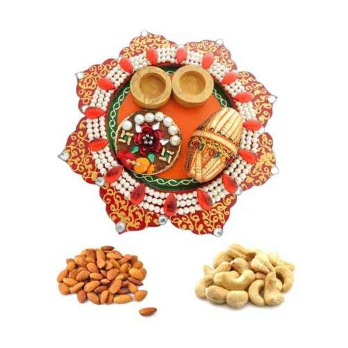Wooden POOJA THALI Almonds & Kaju 100gms Each- USA Delivery Only