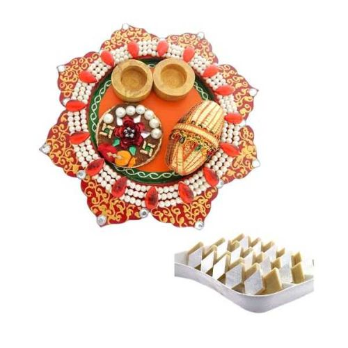 Wooden POOJA THALI & Kaju Katli 200gms - USA Delivery Only