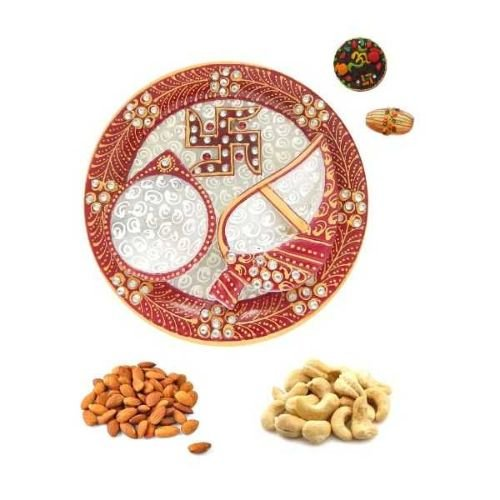 Swastika Marble Puja Thali With 200 gms Dry-fruits - USA Delive