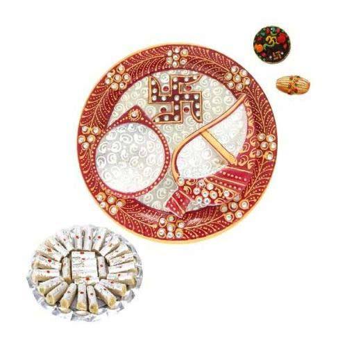 Swastika Marble Puja Thali With 200 gms Kaju Rolls