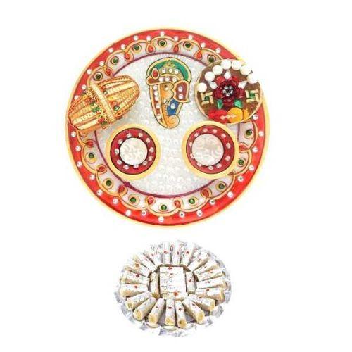 Lord Ganesha Marble Puja Thali With Kaju rolls 200 gms