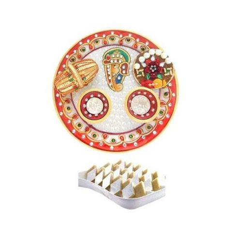 Ganesha Marble Puja Thali With Kaju Barfi 200 gms - USA Delivery