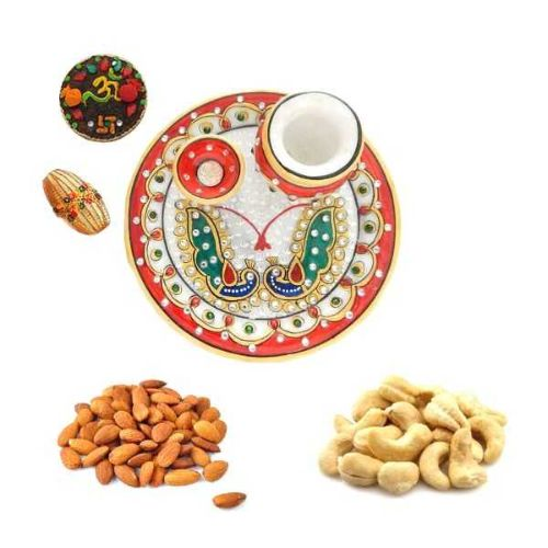 Peacock Designe Marble Puja Thali With Dry Fruits - USA Only