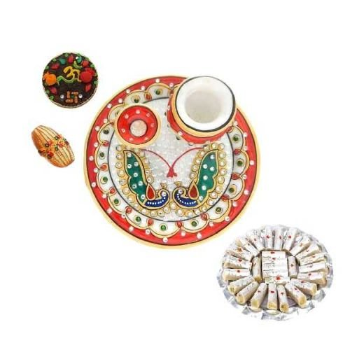 Peacock Designe Marble Puja Thali With Kaju Roll's 200 GM - USA