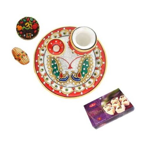 Peacock Designe Marble Puja Thali With Soan Papdi 250 GM - USA