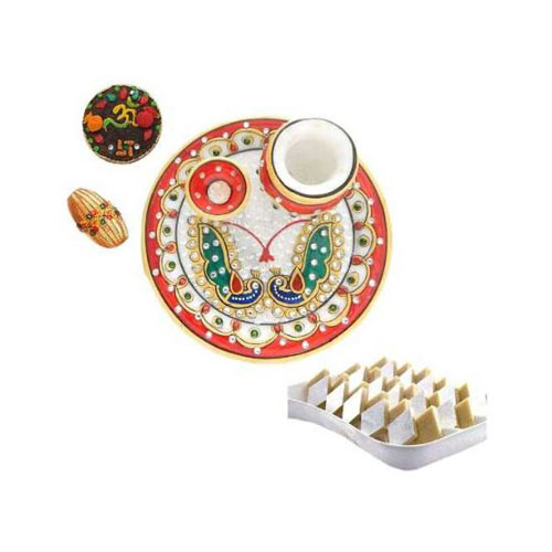 Peacock Marbel Puja Thali With Kaju Barfi 200 gms - UK Deliver