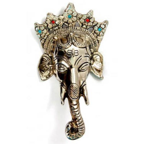 Wall Hanging White Metal Ganesh